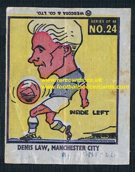 1960 Webcosa  Man City Denis Law original wax paper gum insert